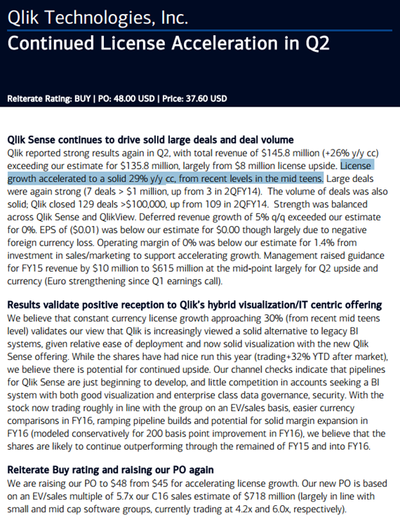 QLIK Note from BofA